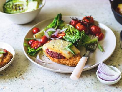 Vegan parmigiana with charred lettuce salad