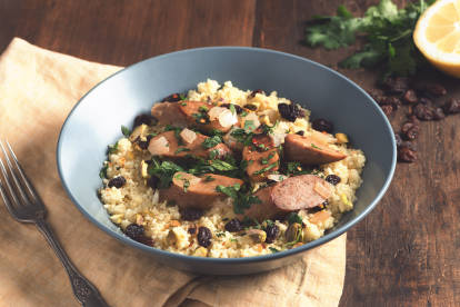 quorn meatless sweet apple sausages couscous vegetarian recipe