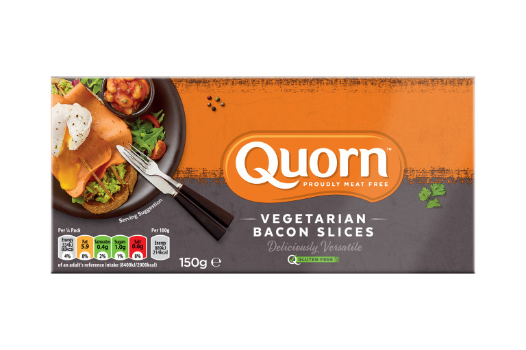 Front of a packet of Quorn Frozen Vegetarian Bacon Slices , featuring dietary information and serving suggestion