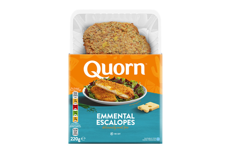 Meat free Quorn Emmental Escalope product packaging with nutritional information.