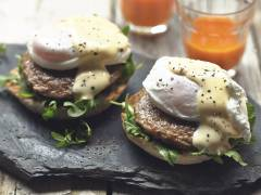 Quorn Sausage Patties with Eggs Benedict