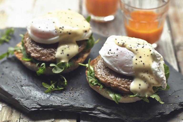 quorn sausage patties with eggs benedict vegetarian recipe