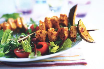 indian tikka skewers with salad vegetarian recipe