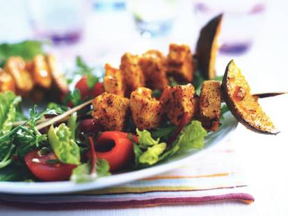 indian tikka skewers with salad vegetarian recipe