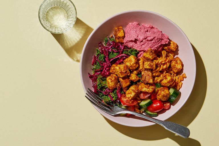 mättande pastabowl, mycket smak, matlåda, recept, vegetariskt