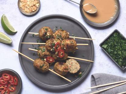 quorn aromatic thai bites skewers with lime and peanut dipping sauce vegetarian recipe