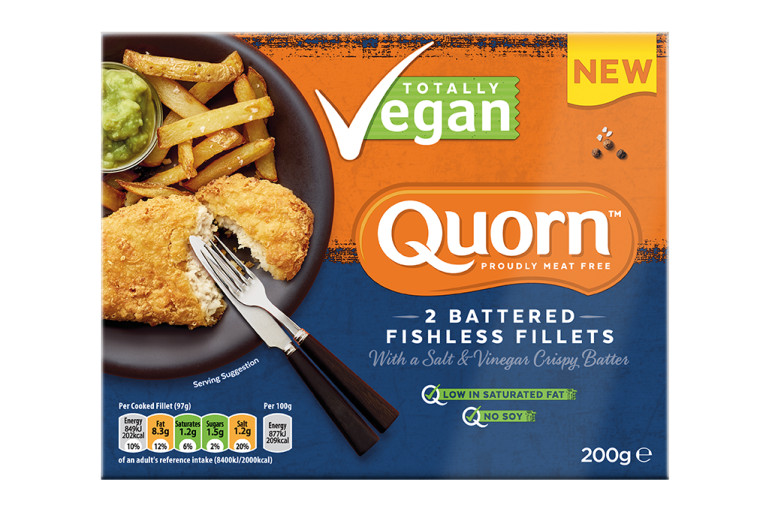 Vegan Quorn Battered Fishless Fillets product packaging with nutritional information