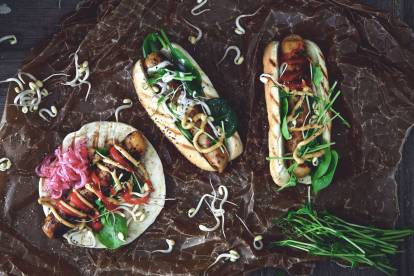 quorn bratwurst hot dog with pickled red onions vegetarian recipe