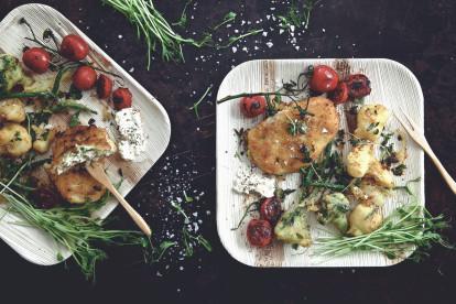 Quorn Escalopes with Mozzarella & Pesto, Tempura Roots and Garlic Dip