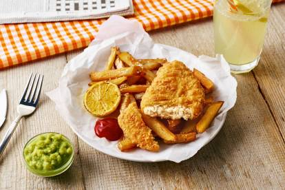 Quorn vegan 'fish & chips' with aioli sauce