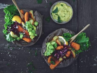 quorn vegan 'fish & chips' with aioli sauce recipe