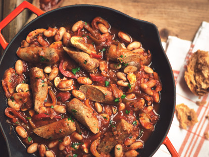 Casseruola di Salsiccia Quorn vegetariana e fagioli