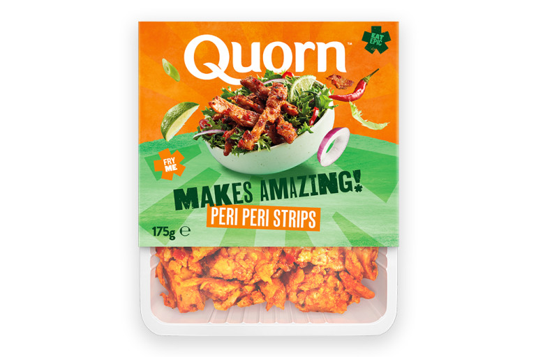A packet of Quorn Makes Amazing Peri Peri Strips with the product visible in the bottom third below an orange and light green label showing the prepared product and information.