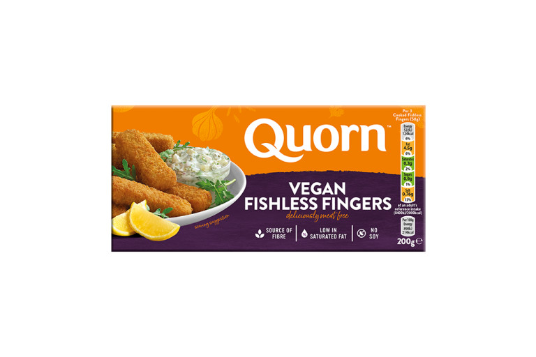 Quorn Vegan Fishless Fingers packaging with nutritional information.