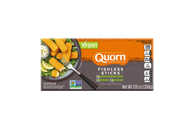 A box of Quorn Fishless Sticks showing the plated product and information on an orange and charcoal background.