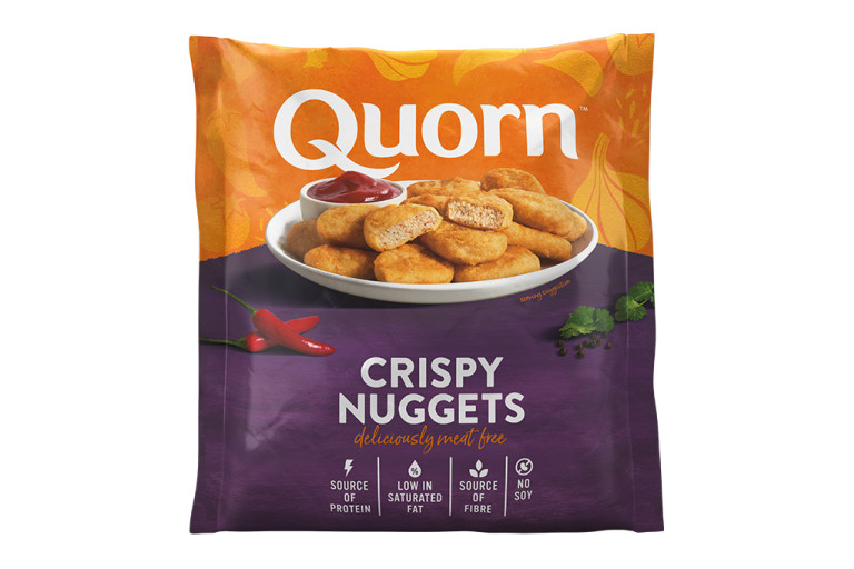 A bag of Quorn Crispy Nuggets showing the prepared product and information on an orange and green background.