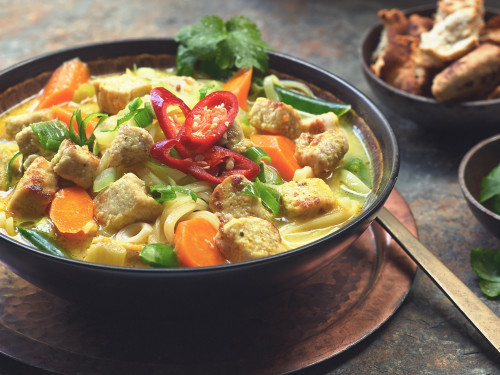 Simple Thai Noodle Soup with Quorn Meatless Chicken