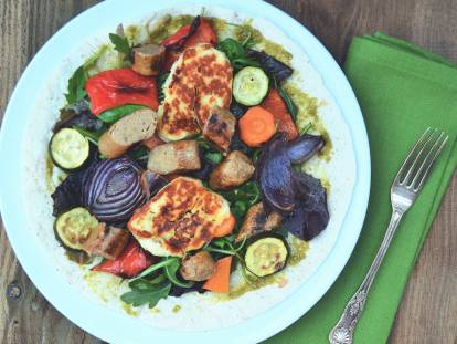 quorn sausages, vegetable & halloumi wraps quick vegetarian recipe