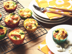 Quorn Vegetarian Bacon Slices, Potato and Broccoli Mini Frittatas