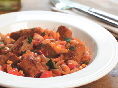 Quorn Sausage Casserole with Beans
