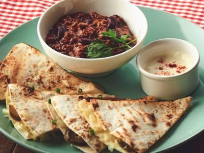 Quesadilla with Chili con Quorn Dip