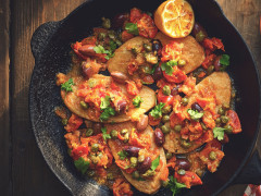 Quorn Fillets with Taggiasche Olives, Dried Tomatoes and Capers