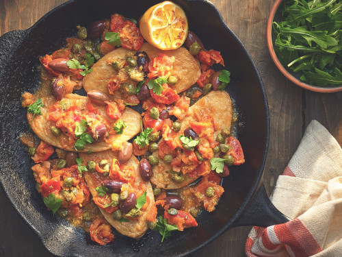 Quornfiléer med taggiasca-oliver, soltorkade tomater och kapris
