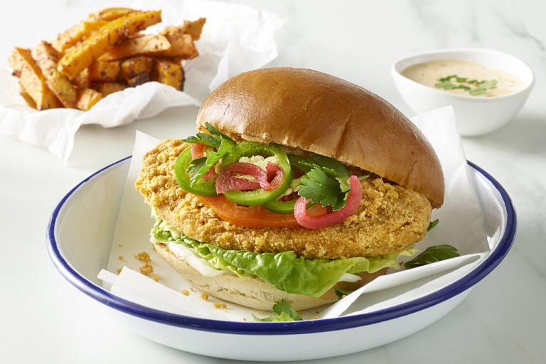 Crunchy Fillet Burgers, Sweet Potato Fries and Peri Mayo Dip