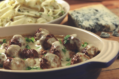 quorn swedish style meatballs in blue cheese sauce vegetarian recipe