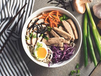 ramen noodle soup with quorn strips vegetarian recipe