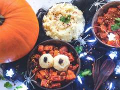smoky pumpkin and quorn pieces vegetarian curry halloween recipe