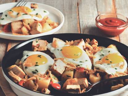 quorn meatless roast leftovers breakfast hash vegetarian recipe