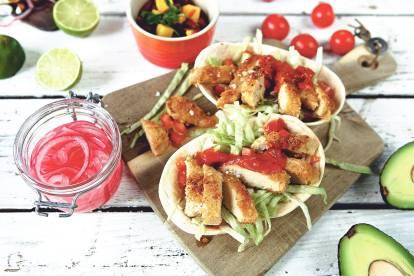 Vegetariska (lakto ovo) tacos med panerade Quornfiléer -recept