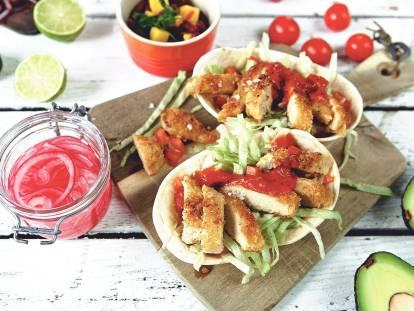 Vegetarisk tacos med panerade Quornfiléer -recept