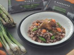 Wok-Fried Brown Rice with Quorn Sausages and Mince with Assorted Vegetables
