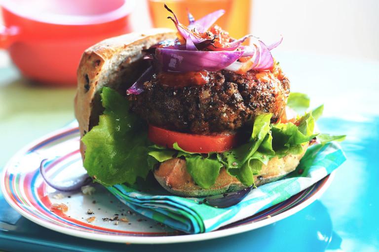 cheese and onion burgers vegetarian recipe
