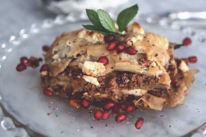 Foodjunkies vegetariska moussaka med Quorn Färs