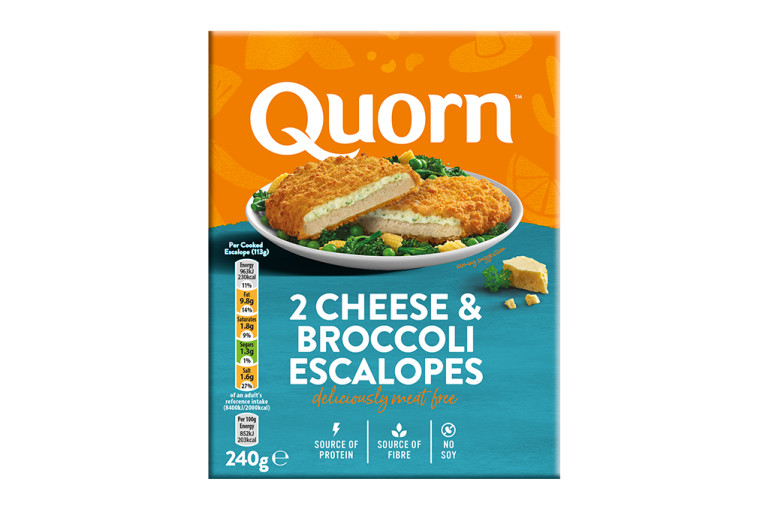 A box of Quorn Cheese & Broccoli Escalopes showing the prepared product and information on an orange and charcoal background.
