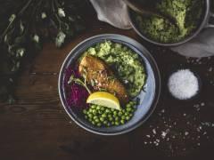 Vegansk variant av fisk och mos med Quorn