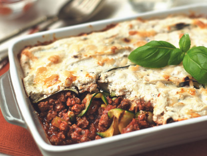 Meatless lasagne with Quorn Meatless Grounds, zuccini ribbons served in a baking dish