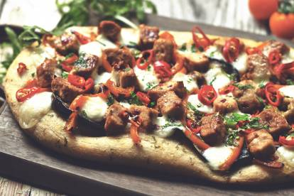 Easy Firecracker Flatbread Pizza with Quorn Meat Free Pieces