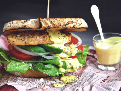 curry mayo club sandwich vegetarian recipe