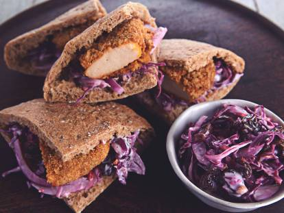 Tangy Red Coleslaw Pitas with Quorn BBQ Dippers