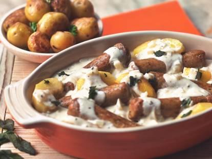 quorn creamy sausage casserole vegetarian recipe