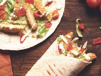 quorn southern fried veggie burger wrap quick recipe