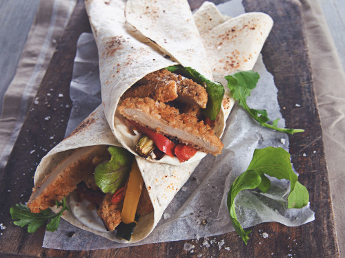 Quorn Southern Style Burger Wraps with creamy pepper sauce