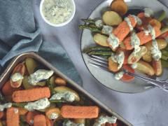 Légumes colorés et sticks Fish-Free vegan de Quorn au four
