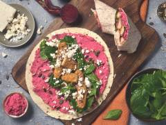 quorn sweet chipotle goujons and beetroot hummus wrap vegetarian recipe