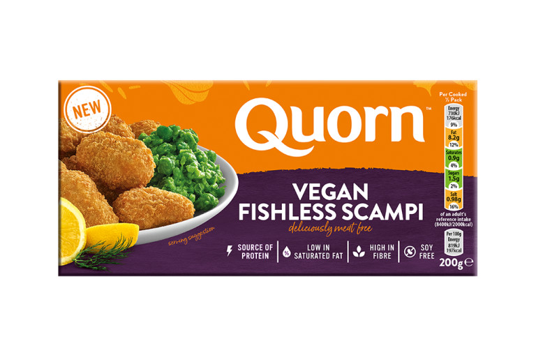 A box of Quorn Vegan Fishless Scampi showing the prepared and plated product and information on an orange and purple background.