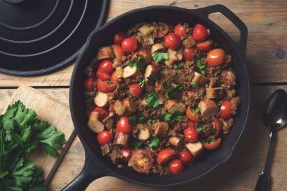 quorn sausages & lentil salad healthy vegetarian recipe
